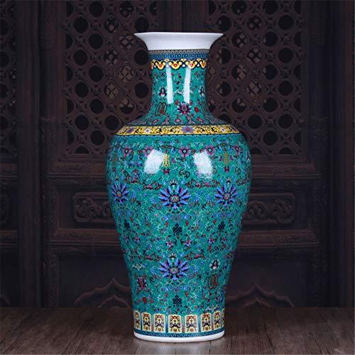 ZSCRL Keramikvase, große Fushou Fischschwanzflasche, Bodenvase, europäische Klassische Hauptdekorationdekoration 67 * 30 * 19cm grün