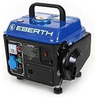 EBERTH 750 Watt Benzin Stromerzeuger (2 PS Benzinmotor, 2-Takt, luftgekühlt, Seilzugstart, 1-Phase, 1x 230 V, 1x 12 V, Voltmeter)