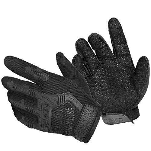 Rüstung Handschuhe (QIYUN.Z Outdoor Männer Militärischen Harten Knöchel Halben Finger Camo Handschuh Taktischen Rüstung Handschuhe (One size, 02-Schwarz))