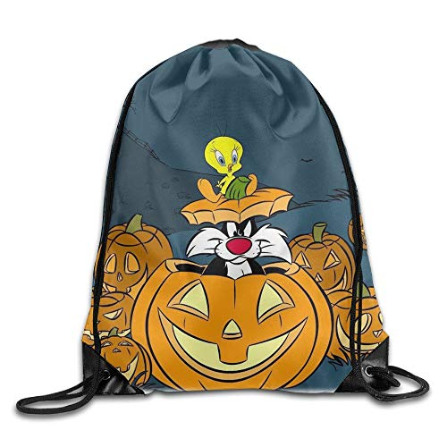 HLKPE Halloween Tweety Bird Pumpkin Portable Daypack Drawstring Backpack/Rucksack