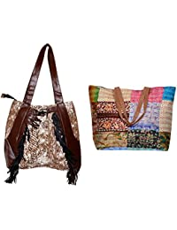 Indiweaves Combo Pack Of 1 Silk Kantha Beach Bags Bag And 1 Cotton Shopper Bag (Pack Of 2) 82100-135278-IW-P2