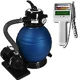 Pompe filtre à sable et particule 10200 l/h avec testeur électronique Chlore et pH