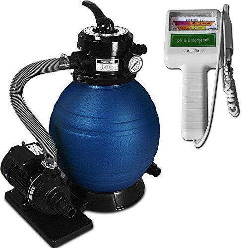 Sandfilter Sandfilteranlage 10 m³/h + Wassertestgerät PH Chlor