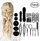 Haar Tool Kit enthalten Donut Bun Maker, Haar für Hochsteckfrisuren, doppelte Haken Haare Zubehör, Muster Pull Pin, spitz Kamm, mit Clips, flauschig Hair Tools (51pcs schwarz Farbe)