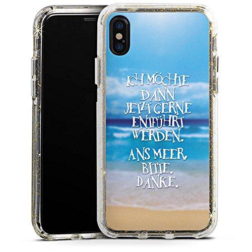 Apple iPhone 7 Bumper Hülle Bumper Case Glitzer Hülle Ocean Meer Mer Bumper Case Glitzer gold