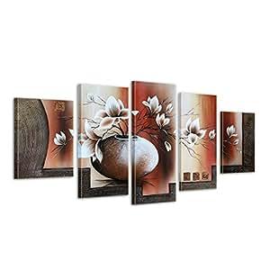 """Bilderdepot24 """"Magnolia M3"""" Tableau Peinture, Sur Toile, Peint À La Main, 150x70cm Ensemble De 5 Pièces 609"""