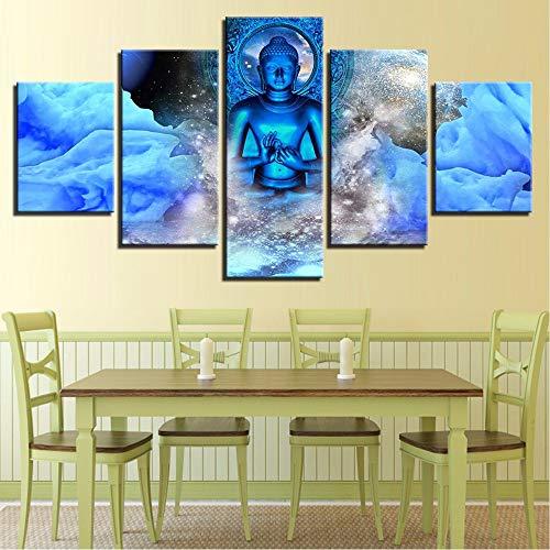 xzfddn Leinwand Wandkunst Modularen Bilder 5 Stücke Blauen Buddha Gemälde Hd Drucke Buddhismus Nebel Poster Für Wohnzimmer Dekor