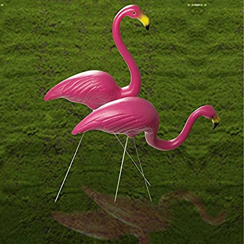 1Pair Pink Lawn Flamingo Garden Ornaments Figurine Plastic Party Grassland