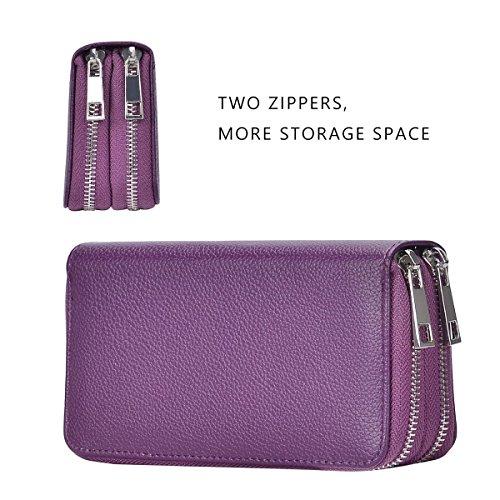 Bangbo Premium in pelle PU con doppia cerniera portafoglio borsetta borsa di denaro custodia organizzatore del supporto per telefono cellulare iPhone 7/7 Plus/se/6s/6 Plus/5S e Samsung Galaxy S8/8 Plu Purple
