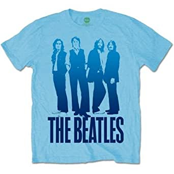 The Beatles Men's Iconic Image Short Sleeve T-Shirt, Blue, Small