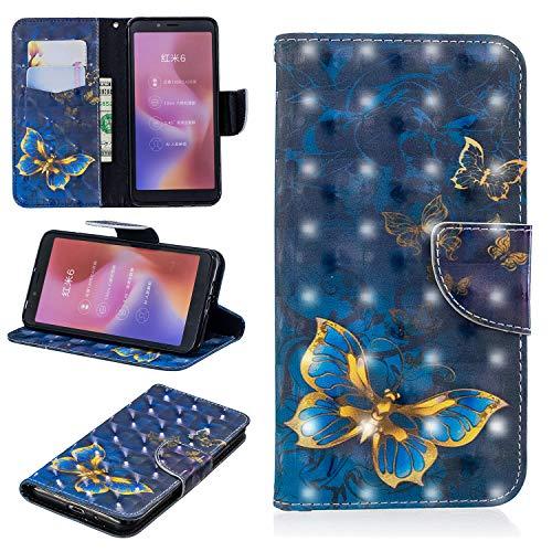 Yobby FlipCase Brieftasche Hülle für Xiaomi Redmi 6, Xiaomi Redmi 6A Slim PU Leder Handyhülle 3D Bunt Muster Kartenfach Magnetverschluss Stand Stoßfest Schutzhülle-Schmetterling