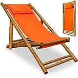 Liegestuhl Sonnenliege Bambusliege Gartenliege Strandliege Orange