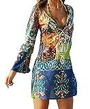 Damen Tief V Ausschnitt Langarmig Strandkleid Elegante Boho Sommerkleid Minikleider Blumendruck Blusenkleider (EU42(L), Mehrfarbig)
