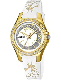 Calypso Watches Armbanduhr Damenuhr Analoguhr 10 ATM mit Glitzersteinchen-Besatz K5624, Farbe:weiß/gelbgold