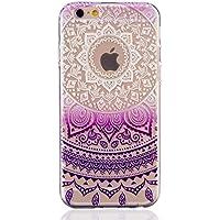 MUTOUREN teléfono caso cubrir volver piel protectora Shell Carcasas Funda para iPhone 6 Plus/6S Plus - Henna Series Full Mandala Floral Dream Catcher -Deep Purple