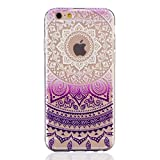 MUTOUREN teléfono caso cubrir volver piel protectora Shell Carcasas Funda para iPhone 6/6S - Henna Series Full Mandala Floral Dream Catcher -Deep Purple