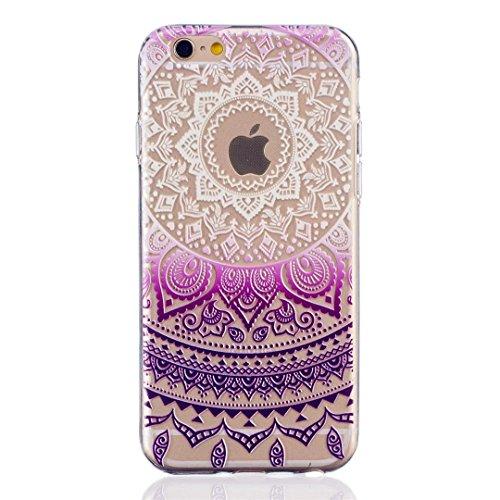 MUTOUREN teléfono caso cubrir volver piel protectora Shell Carcasas Funda para iPhone 6/6S - Henna Series Full Mandala Floral Dream Catcher -Deep Purple