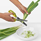 Chuzy Chef Herb Scissors Multipurpose Kitchen Shears Stainless Steel 5 Blade With Cleaning Brush Green