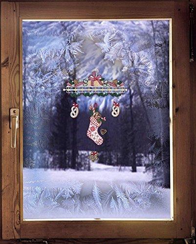 Fensterbild Windspiel Nikolausstiefel 28 x 40 cm (BxH) echte Plauener Spitze ® inkl. Saughaken weihnachtliche Fensterdekoration