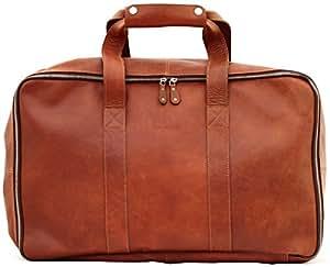 LE GLOBE-TROTTER Sac de voyage en Cuir avec deux compartiments zippés style vintage PAUL MARIUS