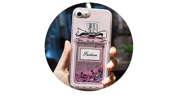 Todo Fundas Cartoon Flower Perfume Bottle Quicksand Dynamic Liquid