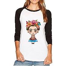 Camiseta Casual de Manga Larga para Mujer con Cuello Redondo Raglan de Frida Kahlo