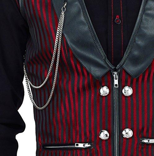 Vintage Goth Weste Brokat Streifen Steampunk Gothic Schwarz Rot Schwarz