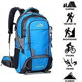 Newpurlane 50L Uomo All'aperto Impermeabile traspirante Gli sport Zaino Viaggio Escursionismo Campeggio Zaino Bicicletta Borsa Con Pioggia Copertina Migliore Vacanza I regali (Blu)