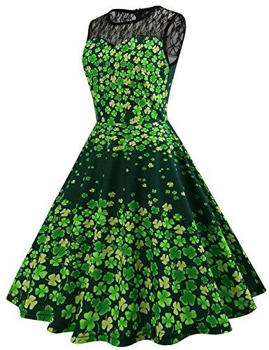 Frauen Vintage Kostüm Kleid St. Patrick Day Sporadisch Grün Klee Print Swing Kleid Schwarz Mesh Patchwork Design Dress