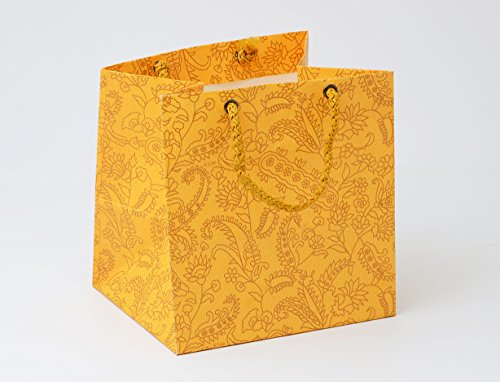 Bdpp Premium Gift Paper Carry Bags-Gold Print On Mango Base(Pack Of 10)-Size 5.10 X 5.10 INCHES