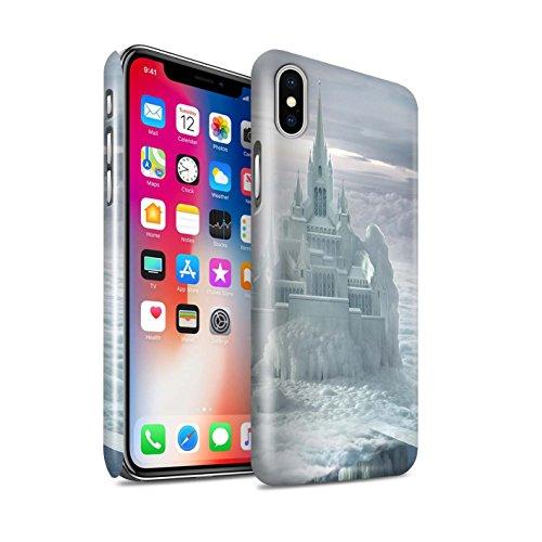 Offiziell Elena Dudina Hülle / Glanz Snap-On Case für Apple iPhone X/10 / Grünes Feld Muster / Fantasie Landschaft Kollektion Schloss/Wolken