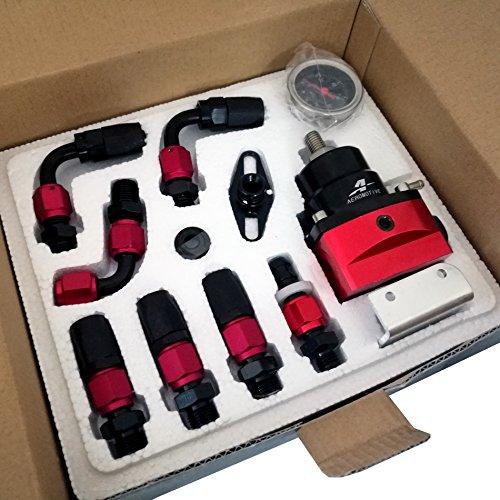 SYM TOP Adjustable Fuel Pressure Regulator AN6 Hose End Fittings Oil Line And Gauge Kit - Red and Black Test