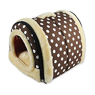 ANPI 2 In 1 Pet House and Sofa, Machine Washable Non-slip Foldable Soft Warm Dog Cat Puppy Rabbit Pet Nest Cave Bed House with Removable Cushion Detachable Cashmere Mattress, 3 Sizes, Multicolor