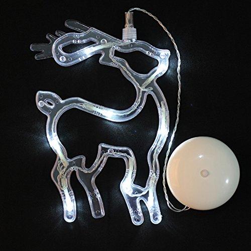 Zantec Elk in Form von warmweiß LED Licht batteriebetrieben Fenster Sucker Lampe Décor Licht -
