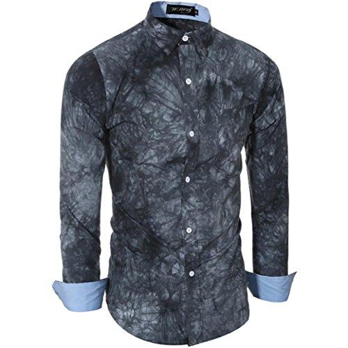Rcool Männer Casual Shirts Langarm Baumwoll T-Shirt Slim Fit Bedruckte Oberteile Grau