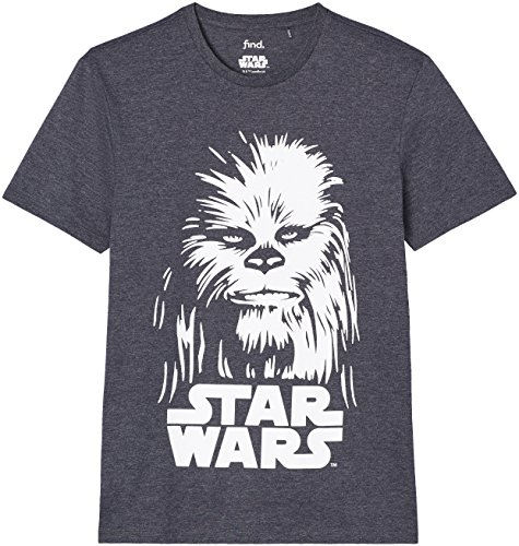 FIND Herren Regular Fit T-Shirt Star Wars Chewbaca, Grau, Large