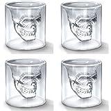 Smartcraft Doomed Shot Glass - Set Of 4, Transparent Crystal Skull Shot Glasses
