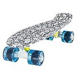 LAND SURFER Skateboard Cruiser Completo 56cm con tavola con disegno di Teschi - cuscinetti ABEC 7 - Ruote Blu Trasparenti 59mm PU + borsa per il trasporto