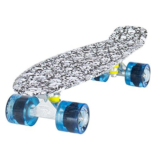 Land Surfer® Skateboard Cruiser Completo 56cm con tavola con Disegno di Teschi - Cuscinetti ABEC 7 - Ruote Blu Trasparenti 59mm PU + Borsa per Il Trasporto