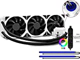 DEEPCOOL (360mm) High Performance All-in-One RGB Liquid CPU Cooler, Synchronized RGB Waterblock, 2 LED Strips, AM4 Compatible, 3-year Warranty (Captain 360EX RGB White)