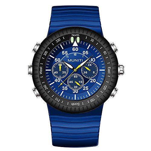 MuNiTi Herren Quarz Uhren Silikon-Uhrenarmband Edelstahl Leuchtende Sportuhr Armbanduhr Uhr(Blau)