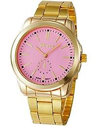 049437a076a2 KanLin1986 mujeres pulsera de acero inoxidable reloj de pulsera de cuarzo ( Rosado)