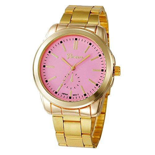 KanLin1986 mujeres pulsera de acero inoxidable reloj de pulsera de cuarzo (Rosado)