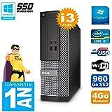 Dell PC 3020 SFF Core I3-4130 RAM 4 GB Festplatte 960 GB SSD DVD-Brenner WiFi W7 (Zertifiziert und Generalüberholt)