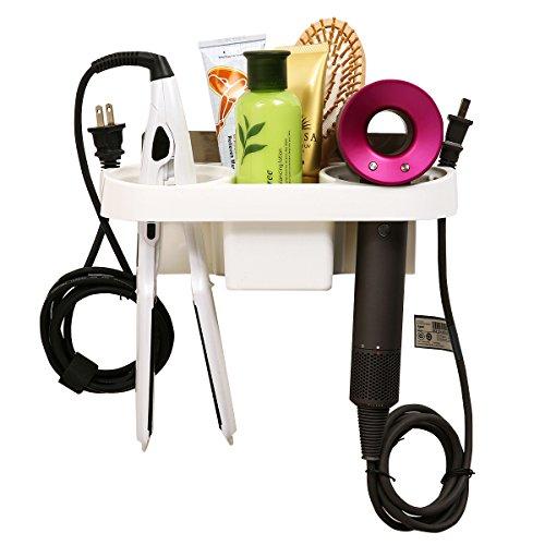 Fönhalter ohne Bohren, Multifunktionale Badezimmer regal Wandhalterung halter Für Haartrockne, Zahnpasta, Zahnbürstenhalter, Kamm, Kosmetika 28 x 11 cm (Badezimmer Haartrockner)