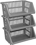 3 Tier Silver Plastic Stacking Vegetable Food Kitchen Storage Rack Stand Basket