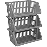 from CrazyGadget 3 Tier Silver Plastic Stacking Vegetable Food Kitchen Storage Rack Stand Basket