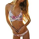 Heißer Verkauf! Bikini Loveso 2017 Damen Schlussverkauf ! Bikini Loveso 2017 Damen Frauen Blumenmuster Push up Bikini Badeanzug Badeanzug ((Größe):36 (M), Weiß)