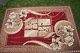 Karatcarpet Moderner Teppich Kurzflor Kollektion Gold 365/22 Rot, Seidenglanz, Muster: Bordüre, Blumen. (300x400 cm)