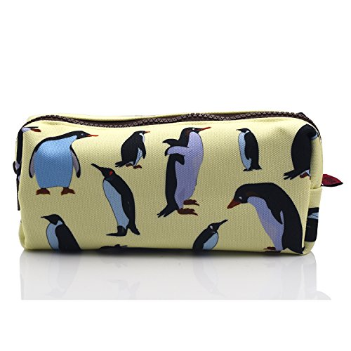 Federmäppchen mit Pinguin-Motiv aus Leinen für Stifte und Schreibwaren, auch als Make-up- und Kosmetiktasche geeignet